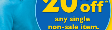 Save 20% off any single non-sale item!