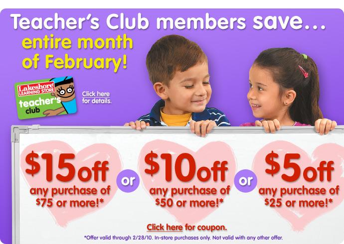 Teacher's Club members save...all February long!